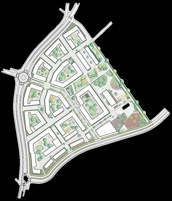 Översiktskarta över Lötängens bostadsområde i Knivsta, med flera olika kvarter och stadsrum som torg, lekparker och innergårdar.
