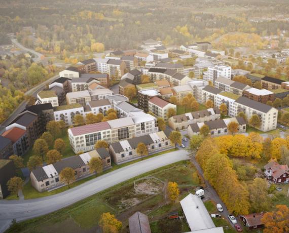 Illustration över ett färdigställt Lötängen, omgivet av Knivstas natur och befintliga bostadskvarter. Varierande bebyggelse i naturskönt område.