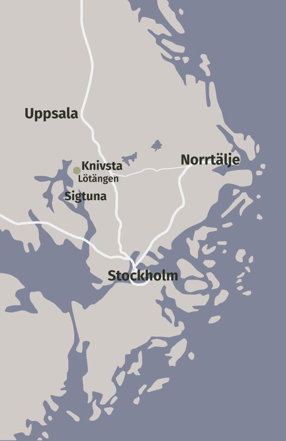 En kartöversikt över Lötängens geografiska förhållanden, med närhet till större städer och arbetsmarknader som Stockholm, Uppsala och Norrtälje.